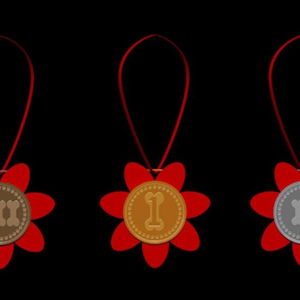 dog prize medals
