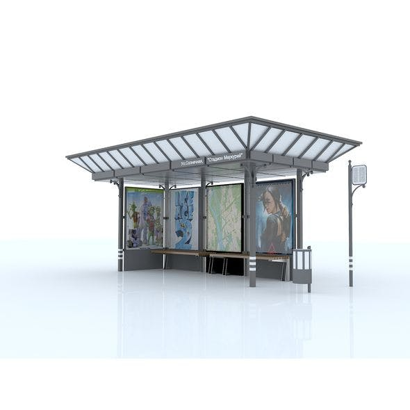 "Bus stop ""C12"", Station ""C12"", Street furniture, 3D - 3DOcean Item for Sale"