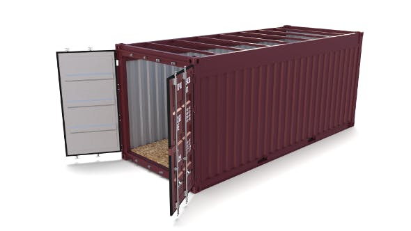 20ft Shipping Container Open Top no Cover - 3DOcean Item for Sale
