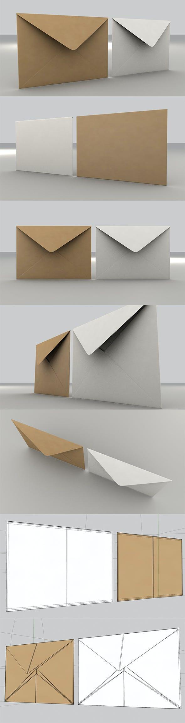 3D Envelope (Size C5 Banker) - 3DOcean Item for Sale