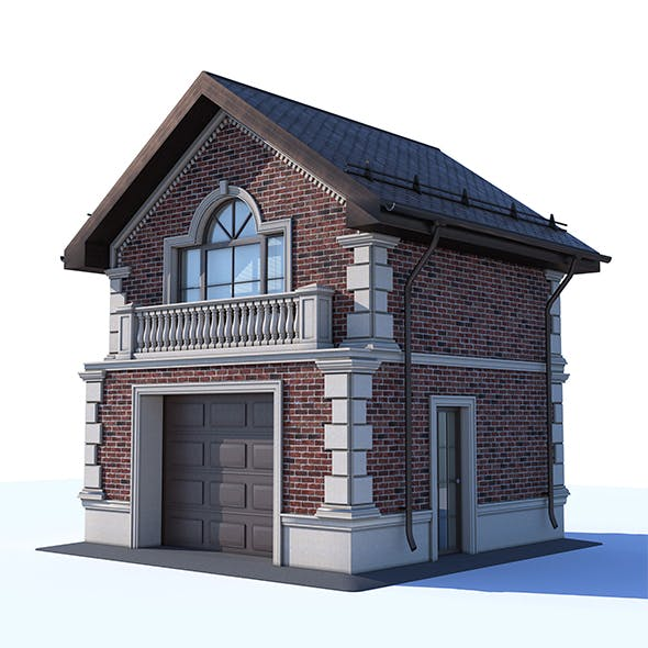 Garage two-storey of clinker and nature stone. - 3DOcean Item for Sale