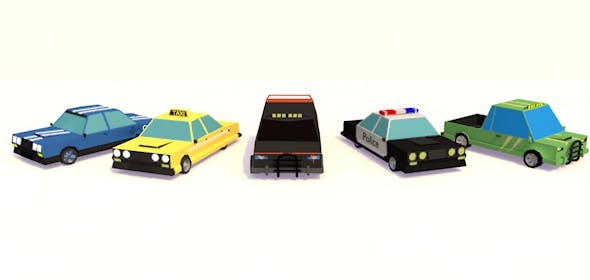 Low Poly Car Pack - 3DOcean Item for Sale