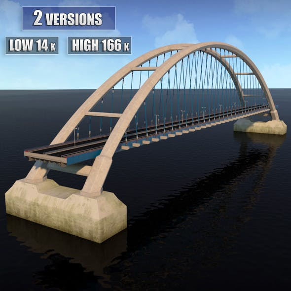 Suspended Arch Water Road Bridge - 3DOcean Item for Sale
