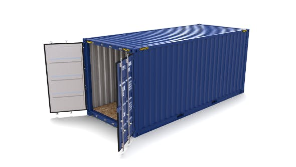20ft Shipping Container Blue - 3DOcean Item for Sale