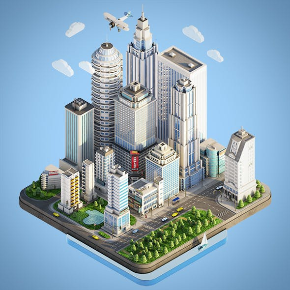 Low Poly Isometric City Town - 3DOcean Item for Sale