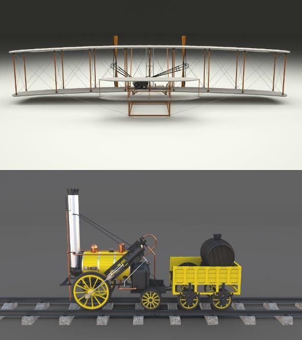 Rocket Locomotive and Wright Flyer Pack - 3DOcean Item for Sale
