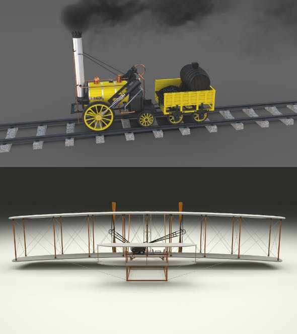 Animated Rocket Locomotive and Wright Flyer Pack - 3DOcean Item for Sale