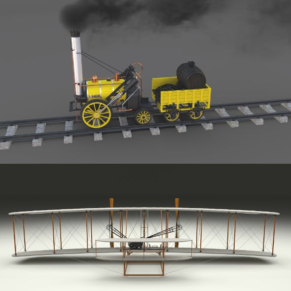 Animated Rocket Locomotive and Wright Flyer Pack
