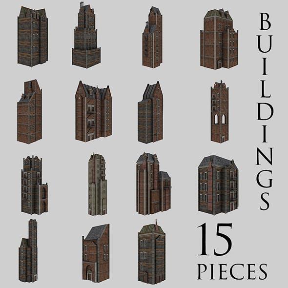 Urban Buildings Pack (15 pieces) - 3DOcean Item for Sale