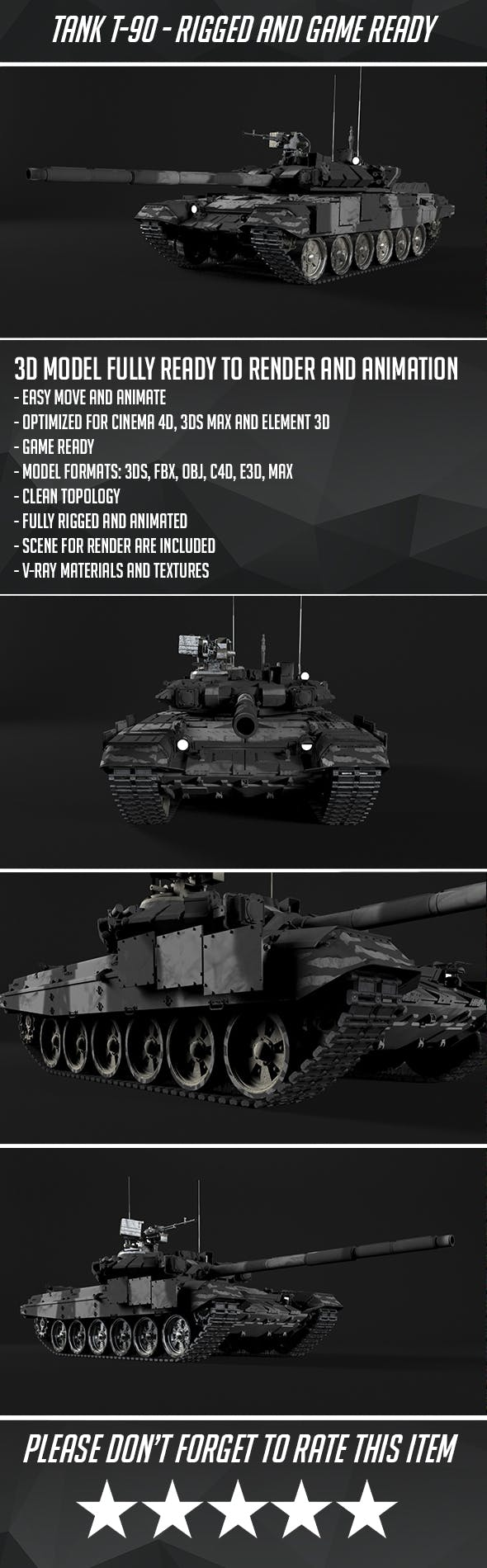 T-90 Rigged and Game Ready - 3DOcean Item for Sale