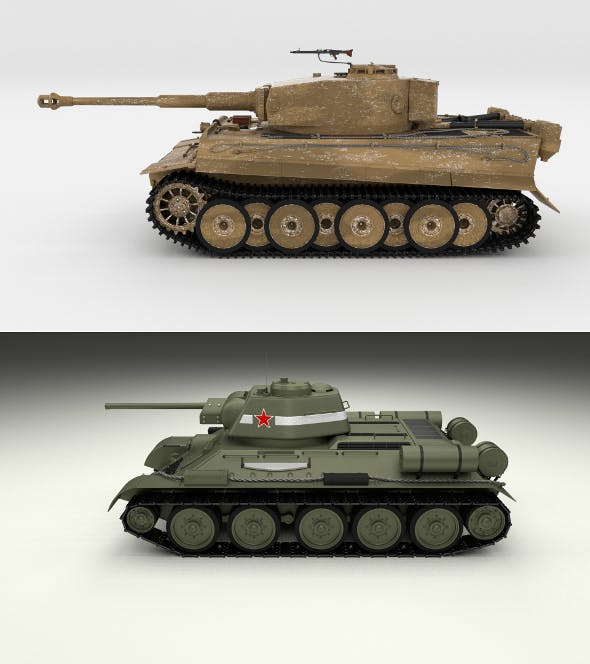 T34-76 Tiger Tank Early Pack - 3DOcean Item for Sale