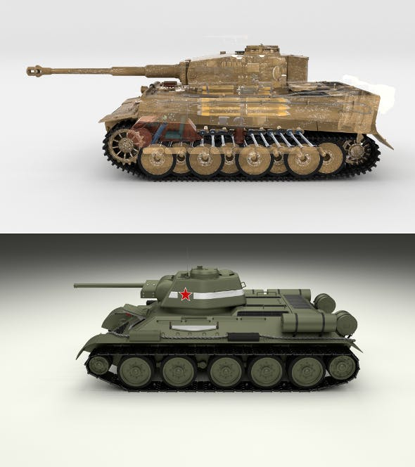 T34-76 Tiger Tank Early Pack with Interior - 3DOcean Item for Sale