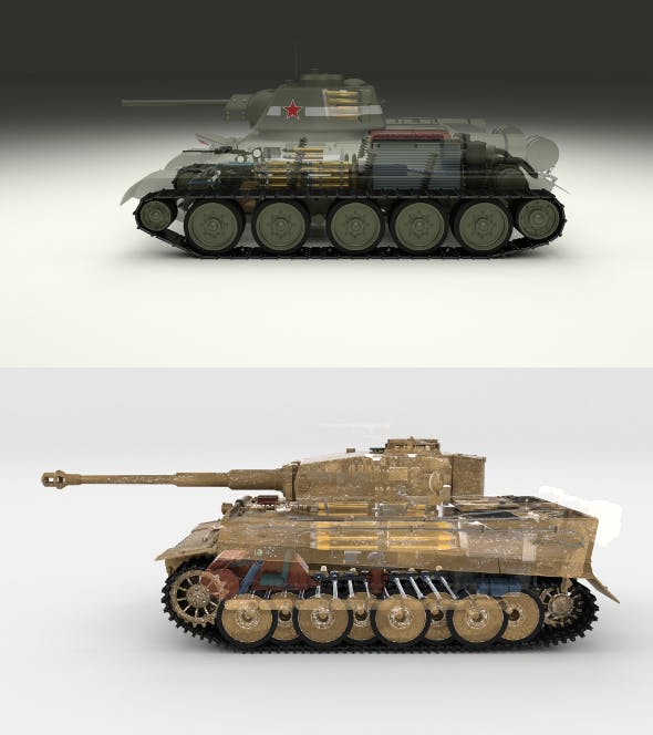 T34-76 Tiger Tank Early Pack with Interior and Engine Bay - 3DOcean Item for Sale