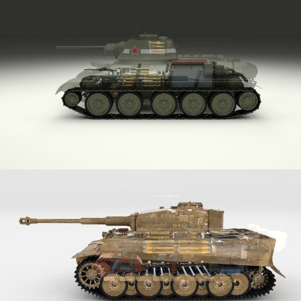 T34-76 Tiger Tank Early Pack with Interior and Engine Bay
