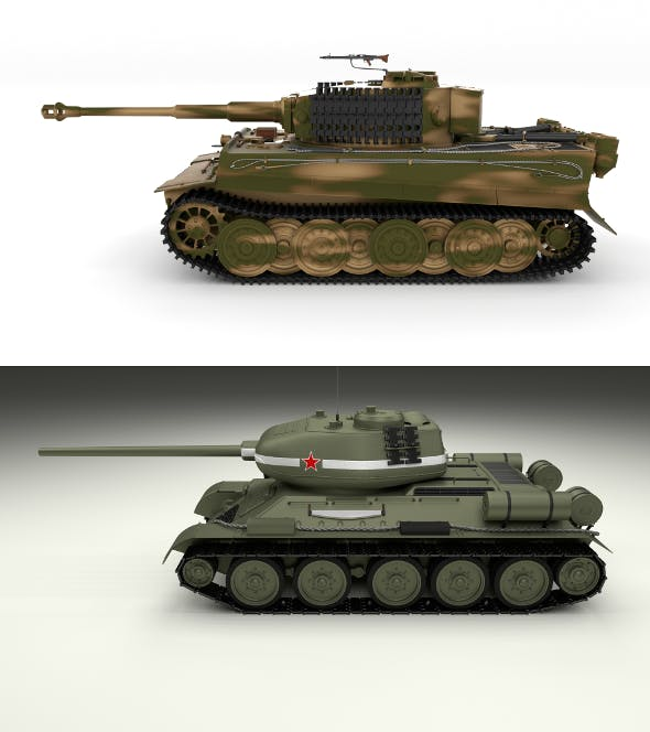 T34-85 Tiger Tank Late Pack - 3DOcean Item for Sale