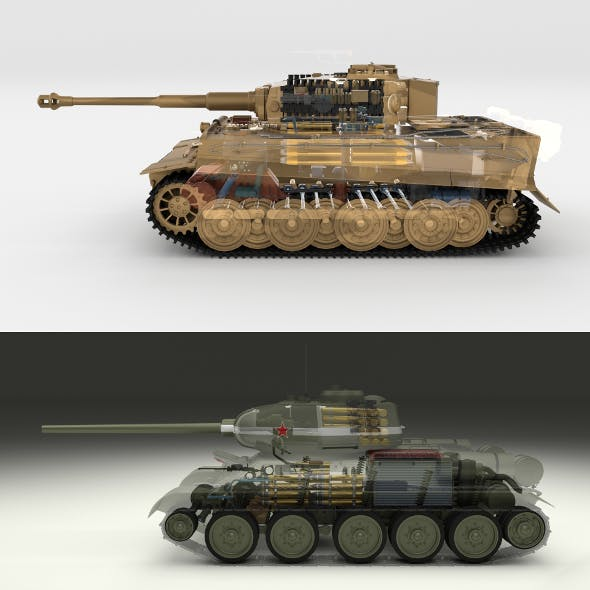 T34-85 Tiger Tank Late Pack with Interior and Engine Bay