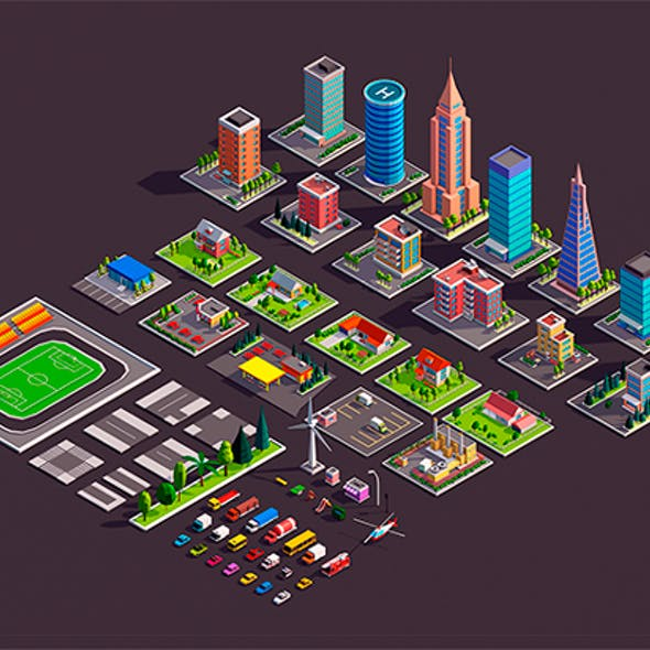 Polygonia City Asset Pack (Buildings,Cars,Elements)