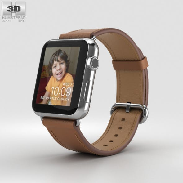 Apple Watch Series 2 42mm Stainless Steel Case Saddle Brown Classic Buckle - 3DOcean Item for Sale