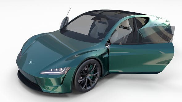 Tesla Roadster Green with Interior - 3DOcean Item for Sale