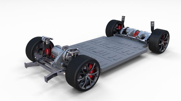 Tesla Roadster 3 Motor Chassis - 3DOcean Item for Sale