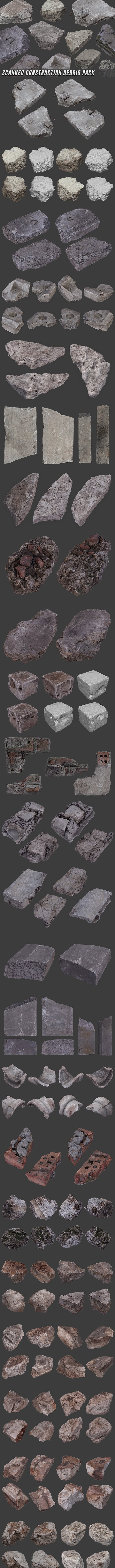 Scanned Construction Debris Pack - 3DOcean Item for Sale