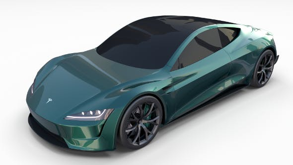 Tesla Roadster Green - 3DOcean Item for Sale