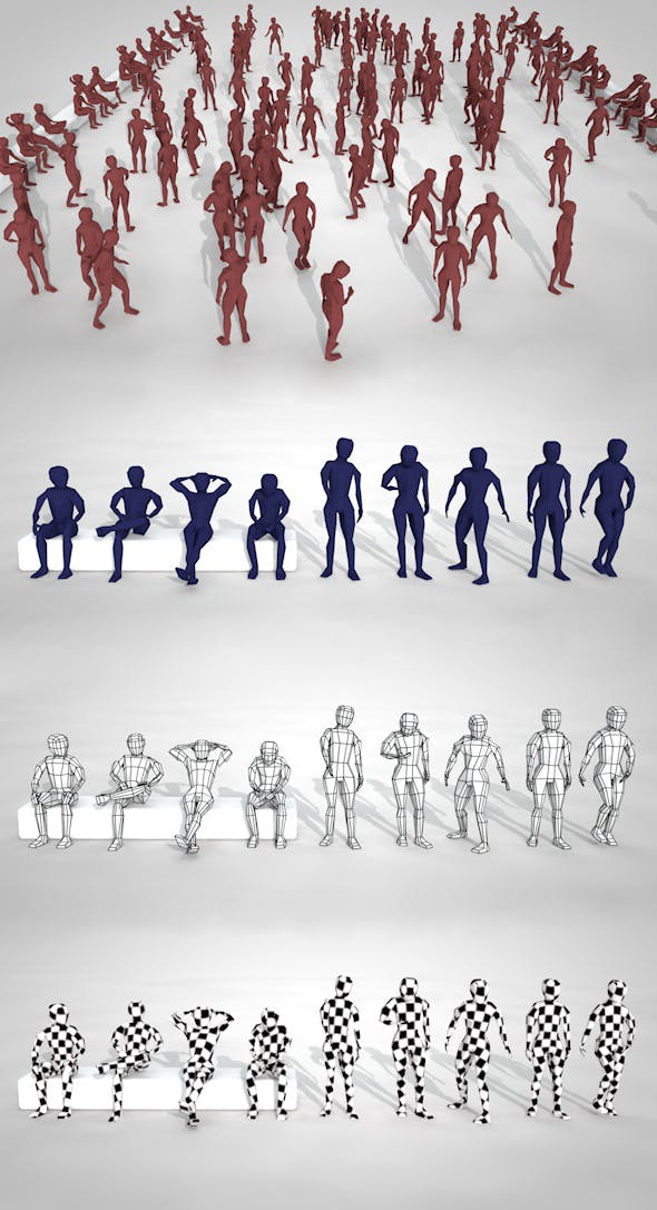 Pack of Low Poly People and Rigged Model with UVW - 3DOcean Item for Sale