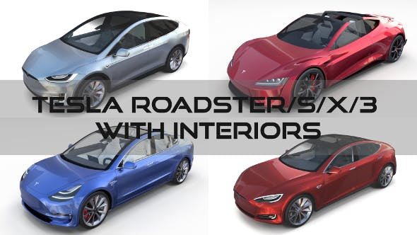 Tesla Roadster Model S X 3 with interiors - 3DOcean Item for Sale