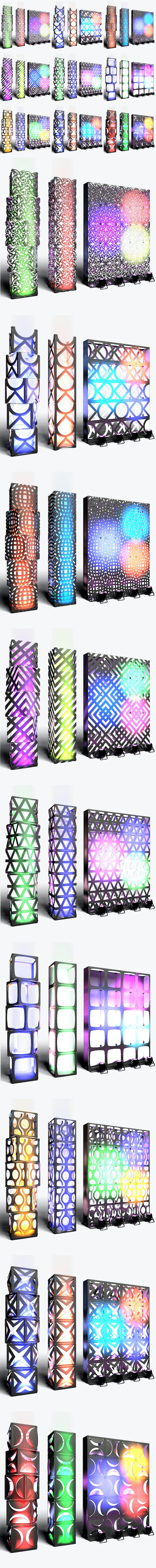 Stage Decor Collection 02 (Modular Wall Column 9 Pieces) - 3DOcean Item for Sale