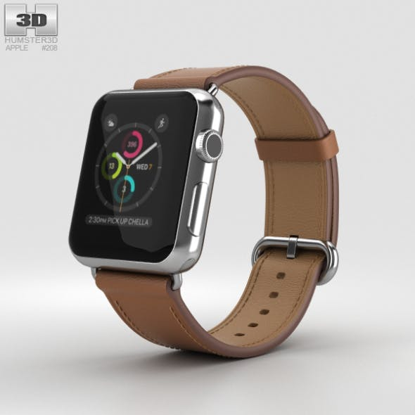 Apple Watch Series 2 38mm Stainless Steel Case Saddle Brown Classic Buckle