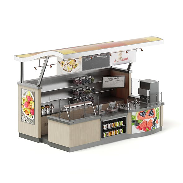 Cafe Stall 3D Model - 3DOcean Item for Sale
