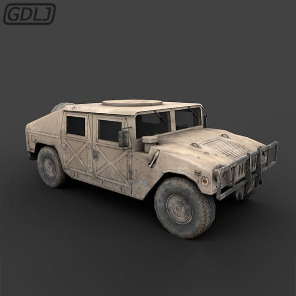 """DC humvee """"Low Poly"""" with Full textures - 3DOcean Item for Sale"""