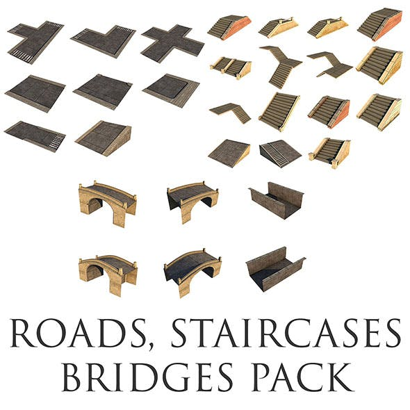 Mid Poly Roads, Staircases and Bridges Pack - 3DOcean Item for Sale
