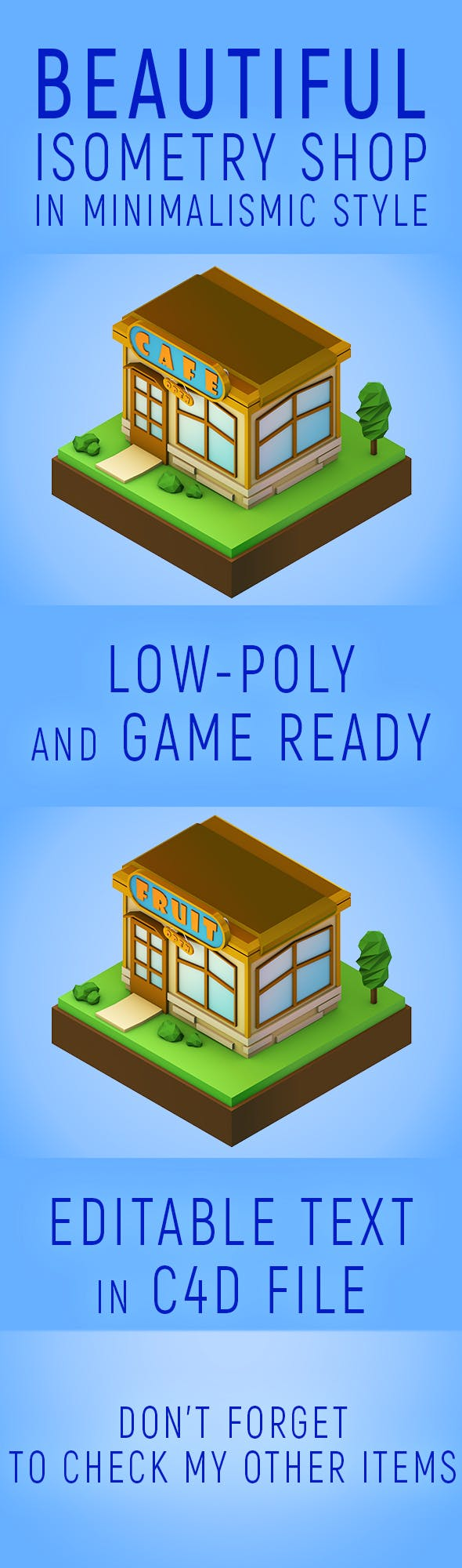 Low poly isometric shop - 3DOcean Item for Sale