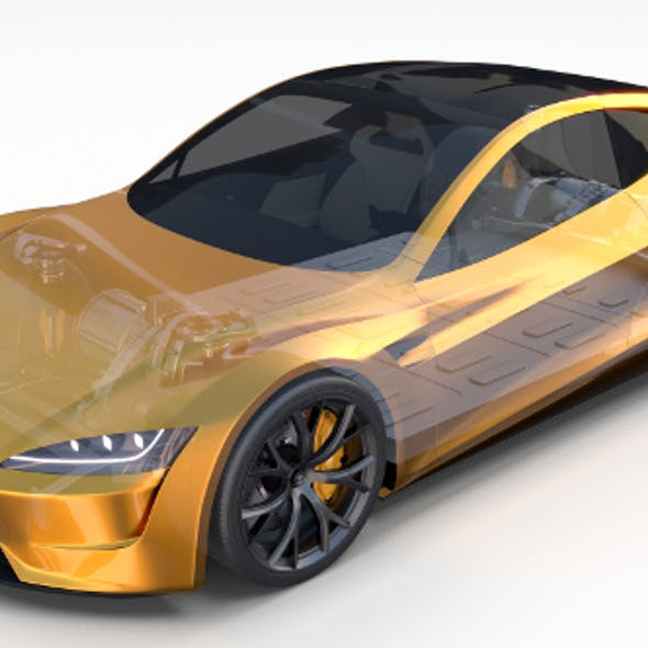 Tesla Roadster 2020 Yellow with interior and chassis