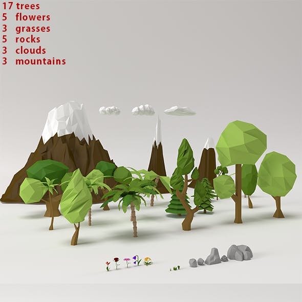 Low poly Trees Flowers Grasses Rocks Clouds and Mountains