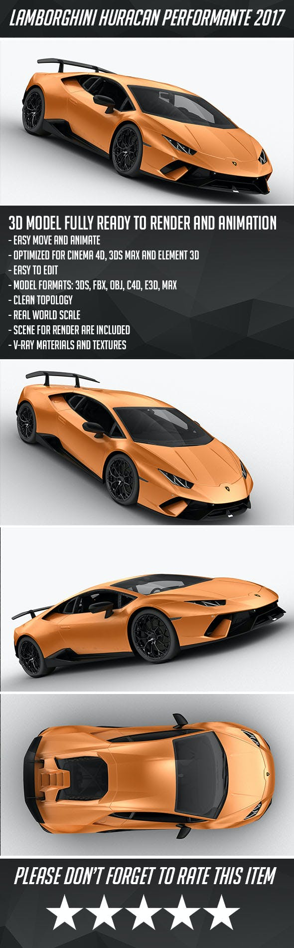 Lamborghini Huracan Performante 2017 - 3DOcean Item for Sale