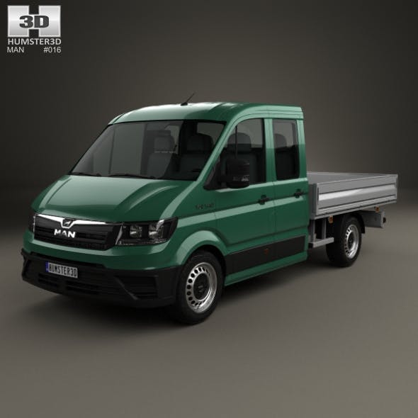 MAN TGE Crew Cab Platform Body L1 2017 - 3DOcean Item for Sale