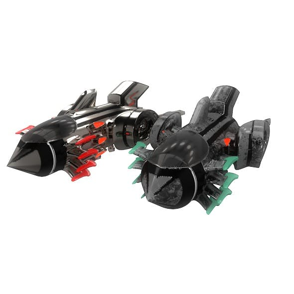 Sci-fi Space Fighter Aircraft Game Model 3d Element - 3DOcean Item for Sale