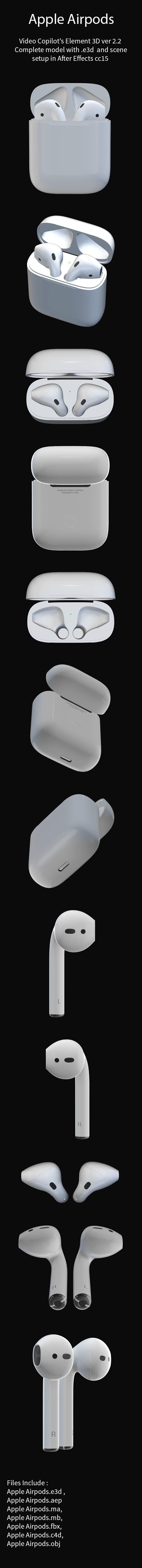 Apple AirPods with Case Element 3D - 3DOcean Item for Sale