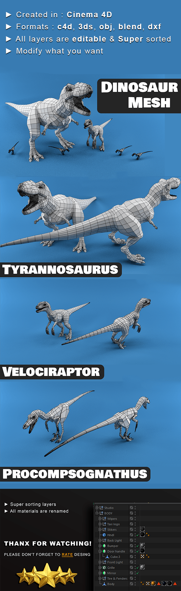 Dinosaur Mesh - 3DOcean Item for Sale