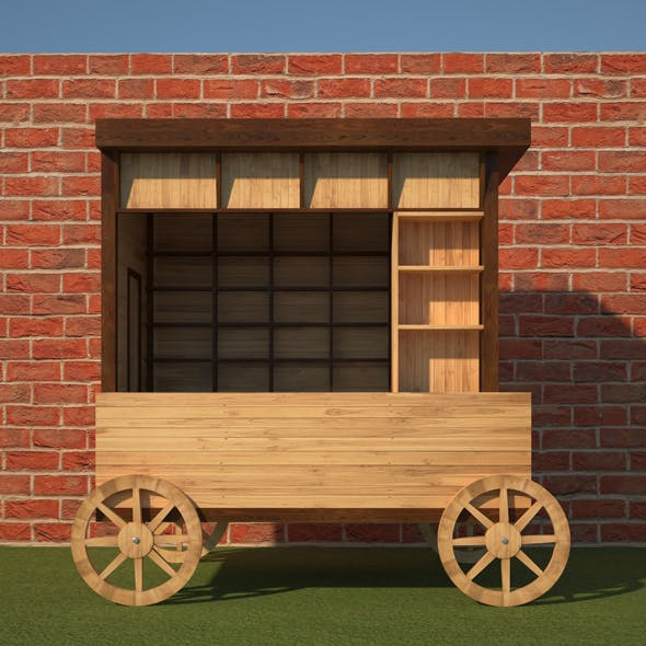 Wooden Food Cart - 3DOcean Item for Sale