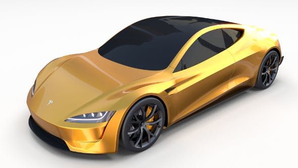 Tesla Roadster Yellow - 3DOcean Item for Sale