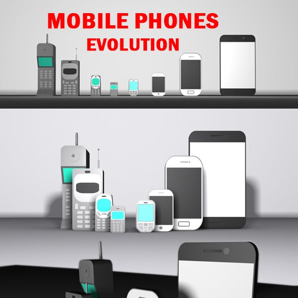 Low Poly Mobile Phones Evolution Pack