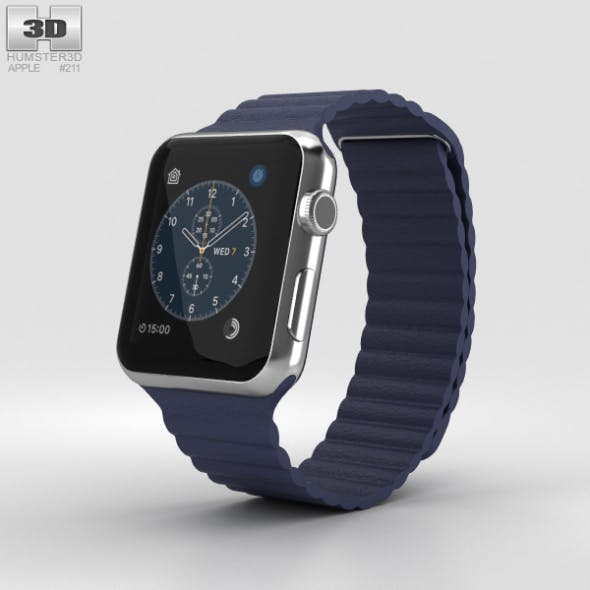 Apple Watch Series 2 42mm Stainless Steel Case Midnight Blue Leather Loop - 3DOcean Item for Sale