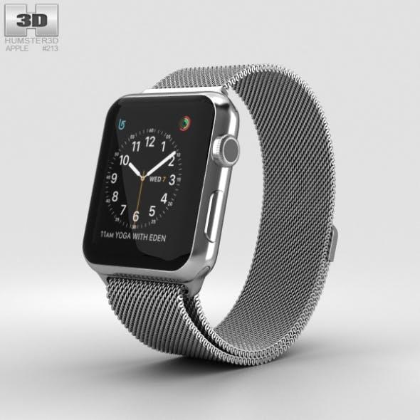 Apple Watch Series 2 42mm Stainless Steel Case Milanese Loop - 3DOcean Item for Sale