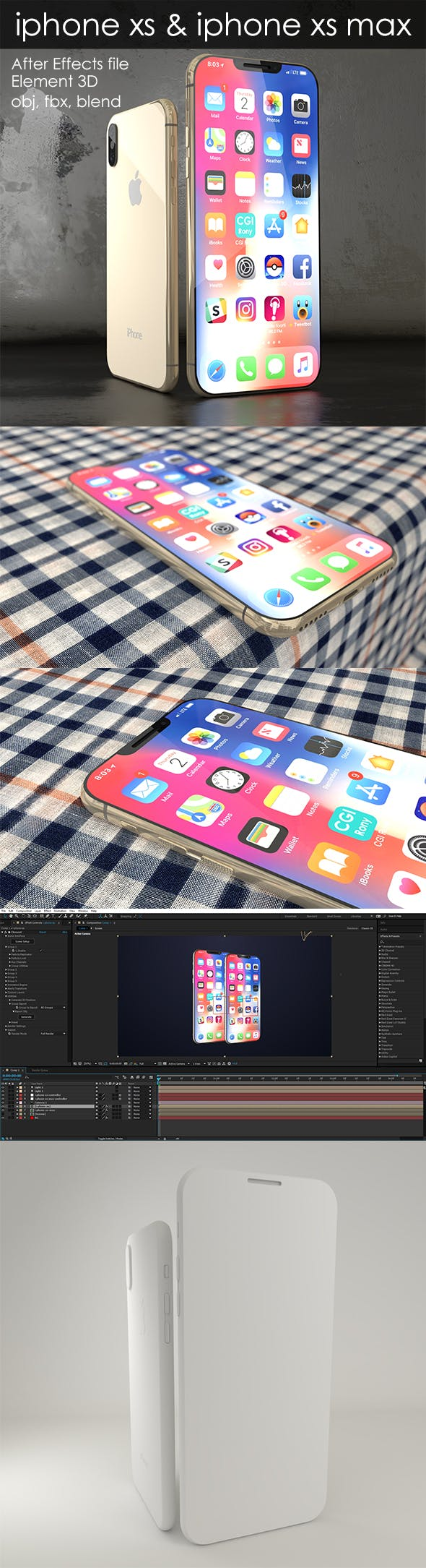Element 3D- iphone xs & xs max - 3DOcean Item for Sale