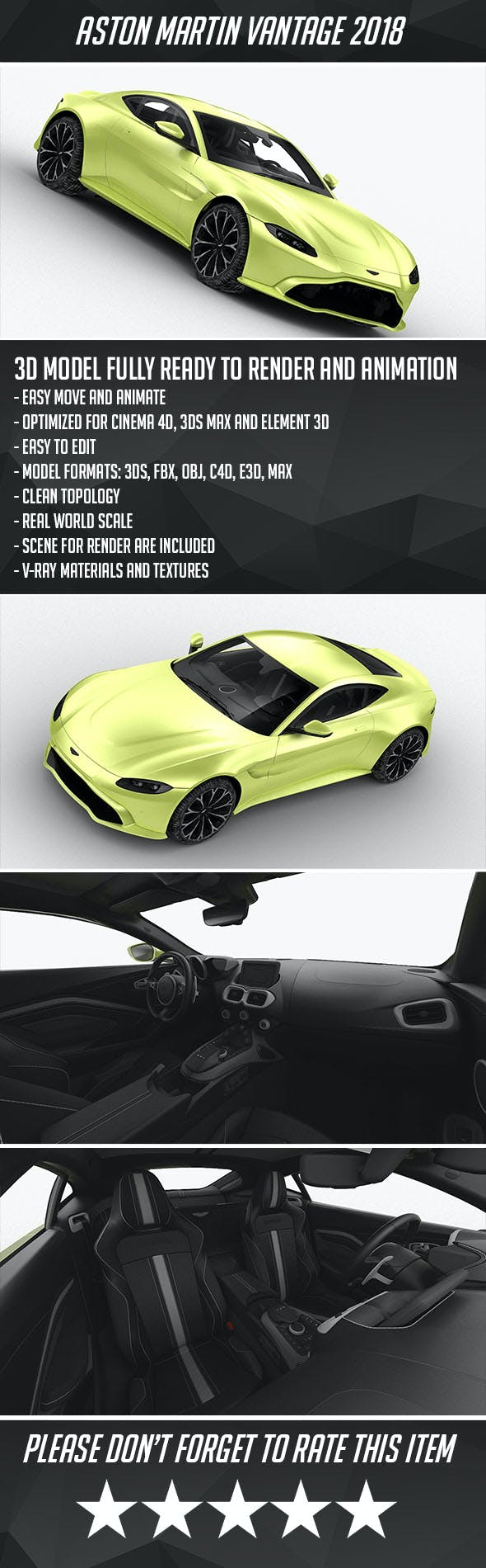 Aston Martin Vantage V8 2018 - 3DOcean Item for Sale