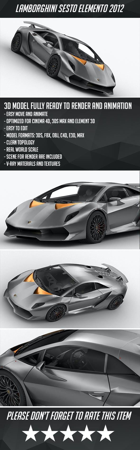 Lamborghini Sesto Elemento 2012 - 3DOcean Item for Sale