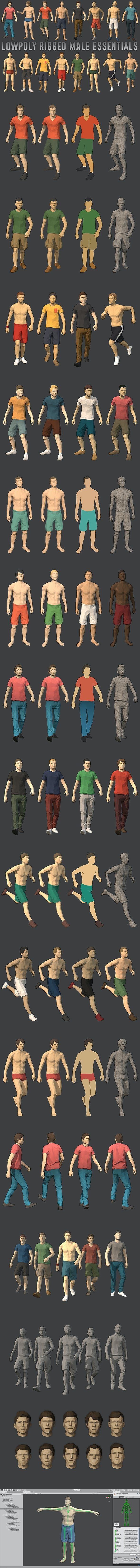 Lowpoly Rigged Male Essentials - 3DOcean Item for Sale